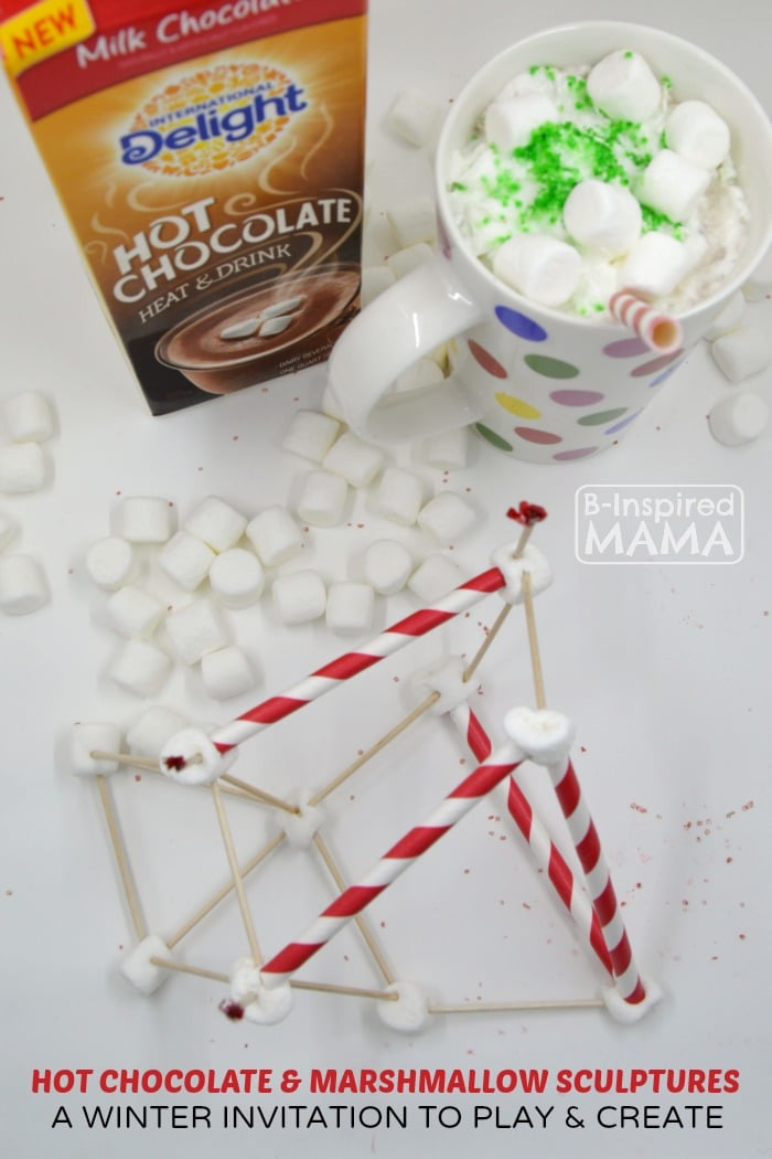 Hot Chocolate and Marshmallow Sculptures - A Fun and Creative Winter Kids Activity - at B-Inspired Mama