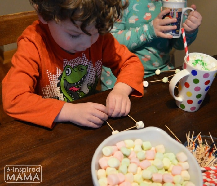 JC and Priscilla Making Marshmallow Sculptures and Drinking their Hot Chocolate - at B-Inspired Mama