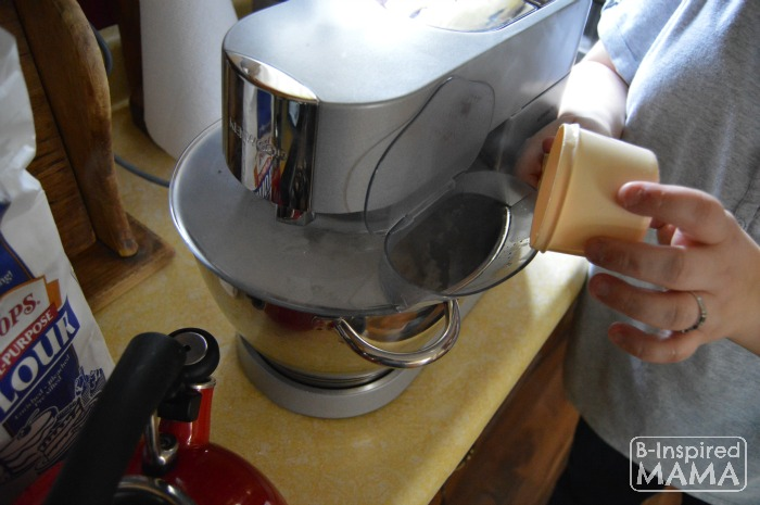 Peppermint Playdough Recipe - Using a Stand Mixer - Adding Boiling Water - at B-Inspired Mama