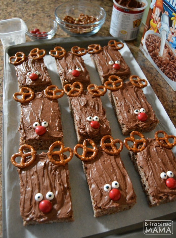 Triple Chocolate Rice Krispies Treats - All Lined Up - at B-Inspired Mama