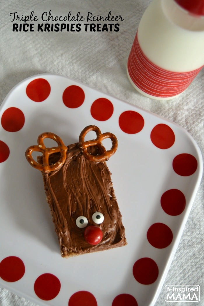 Triple Chocolate Rice Krispies Treats - The Perfect Treat for Christmas - at B-Inspired Mama