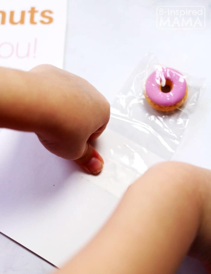 Making Our Donuts Valentines - Free Printable Valentines to Pair with Real Donuts or Donut Erasers - at B-Inspired Mama