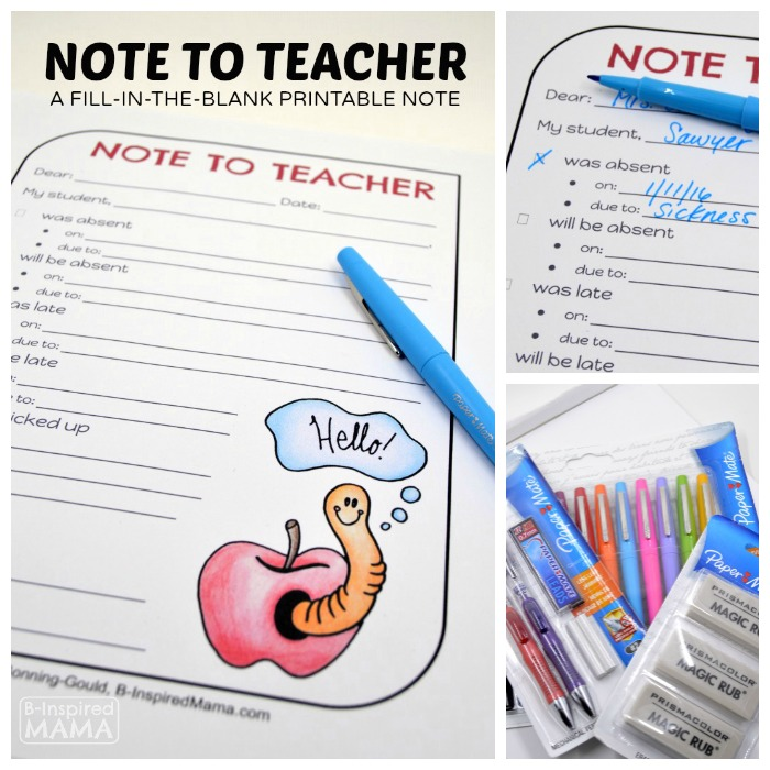 Note to Teacher - A Free Printable Fill-In-The-Blank Form at B-Inspired Mama