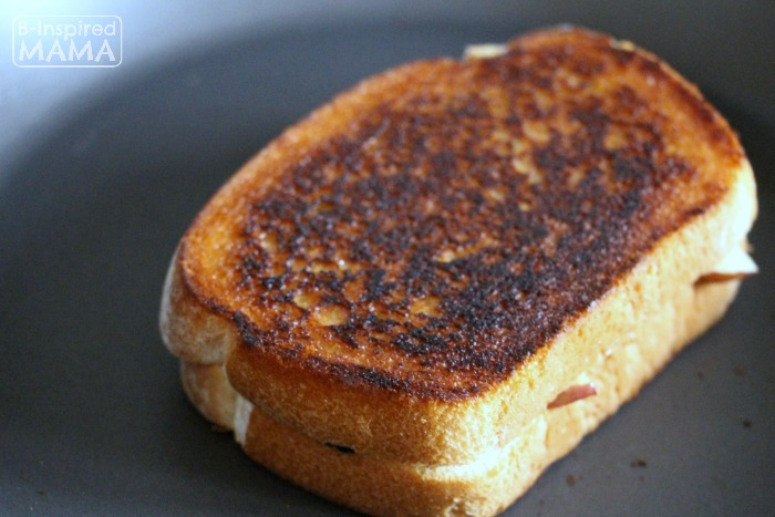 Apple and Ham Grilled Cheese Sandwich - A Fancy Grilled Cheese for Kids - Toasting in the Frying Pan - at B-Inspired Mama