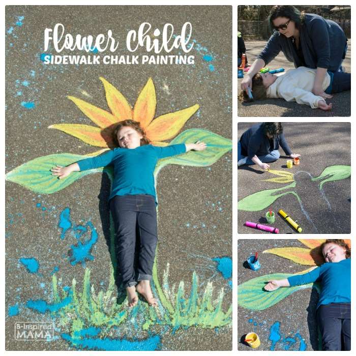 Flower Child Sidwalk Chalk Art - A Creative Photo Op for the Kids - at B-Inspired Mama