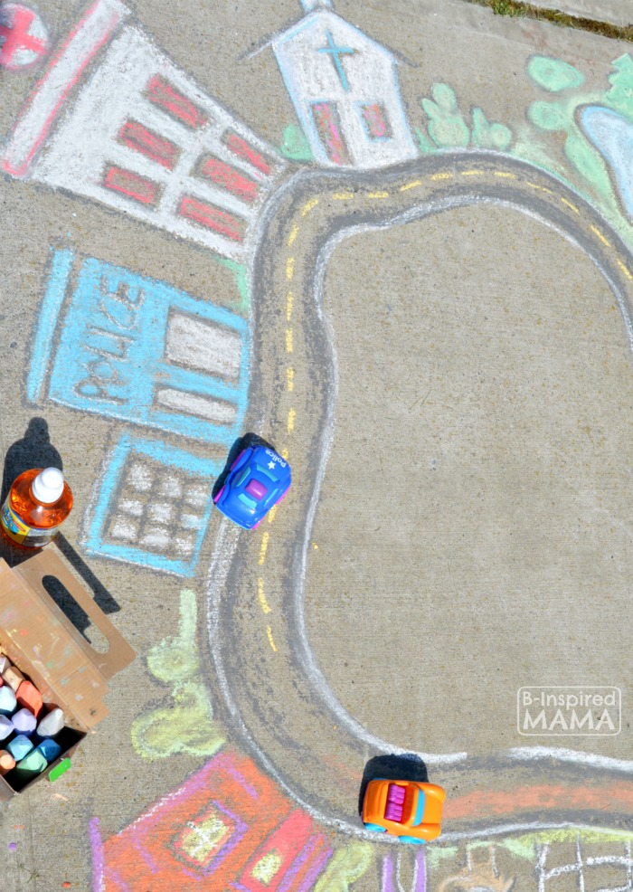 Fun and Easy Sidewalk Chalk Art for Kids to PLAY In - Playing Cars in a Giant Sidewalk Chalk Town - at B-Inspired Mama