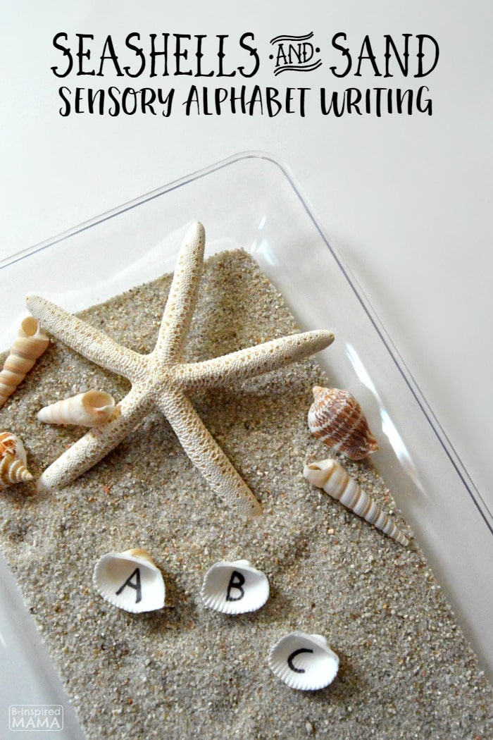Learning the Alphabet with Seashells and Sand Sensory Writing - Perfect for Preschool Kids - at B-Inspired Mama