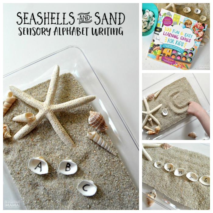 Learning the Alphabet with Seashells and Sand Sensory Writing - at B-Inspired Mama