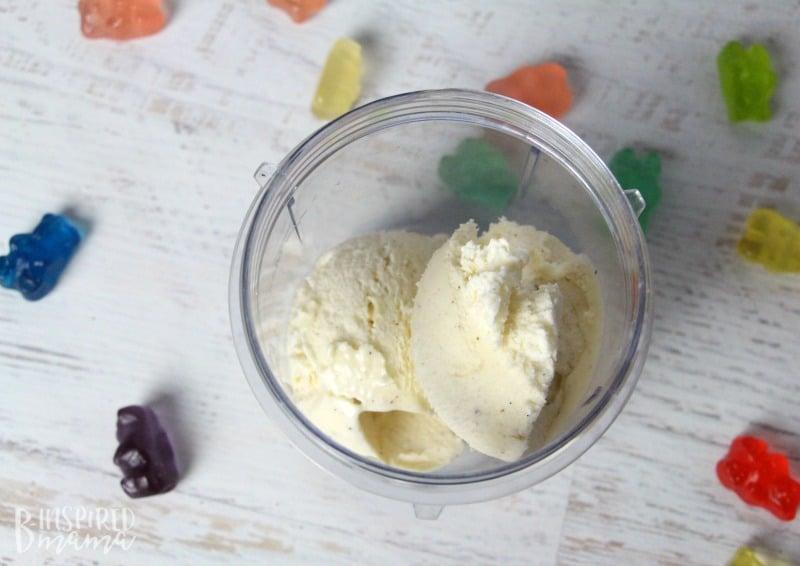 A super easy and seriously fun Rainbow Gummy Bear Milkshake Recipe - high quality ice cream - at B-Inspired Mama