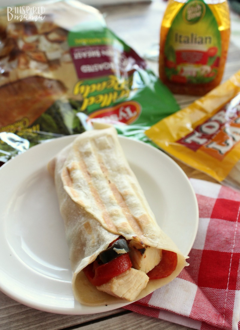 An Easy Italian Antipasto Grilled Chicken Wrap Recipe - perfect for a summer meal - at B-Inspired Mama