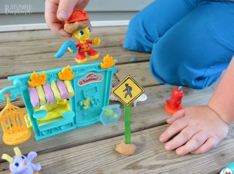 Free Printable Traffic Signs for Play and Learning - with PLAY-DOH Town Playsets - Sawyer fights the fire at the Pet Shop - B-Inspired Mama