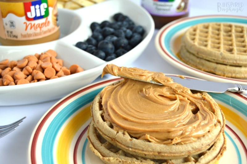 Frozen Waffle Topping Buffet - A Fun and Easy Breakfast for Kids - and it's perfect for busy back to school mornings too - from B-Inspired Mama