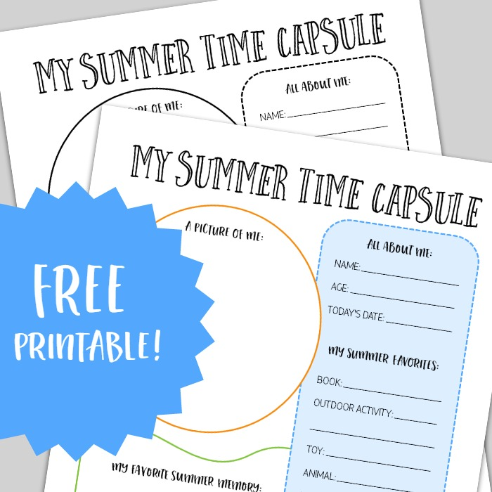 A Summer Time Capsule Printable for Capturing Kids Summer Memories - at B-Inspired Mama