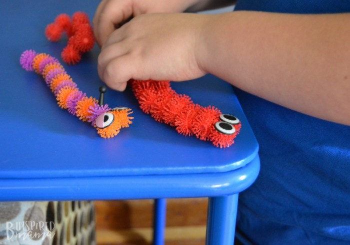 Sawyer making silly snakes + more creative play with their new favorite sensory material - Bunchems - at B-Inspired Mama