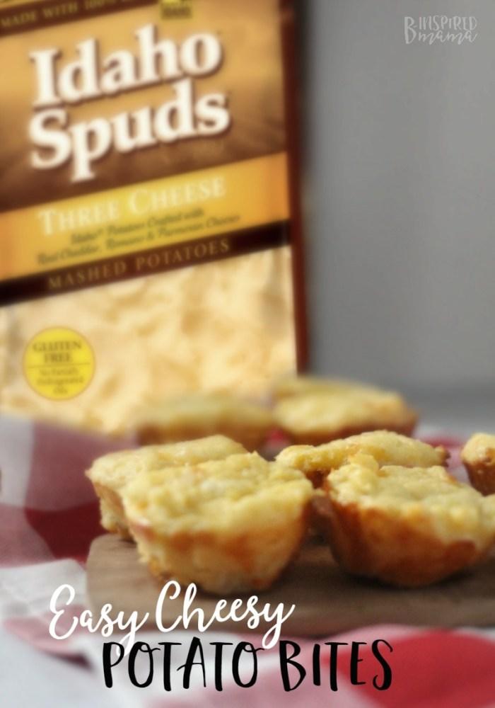 Easy Cheesy Potato Bites - a kid-friendly cheesy potatoes recipe - at B-Inspired Mama