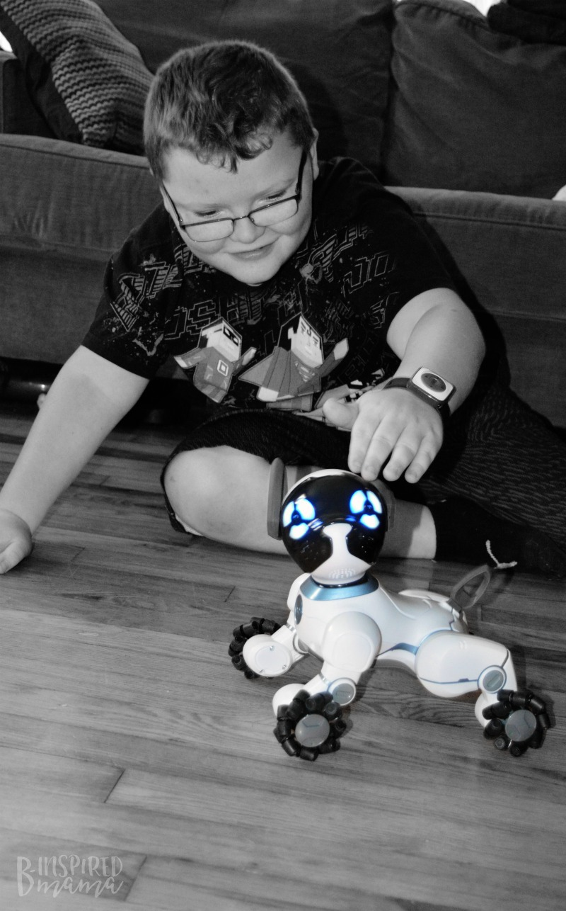 Sawyer loves his new pet - 2 Cool Toys your High-Tech Kids will Love - at B-Inspired Mama