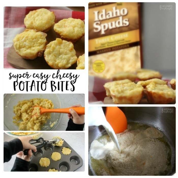 Super Easy Cheesy Potato Bites - an awesome kid-friendly cheesy potatoes recipe at B-Inspired Mama
