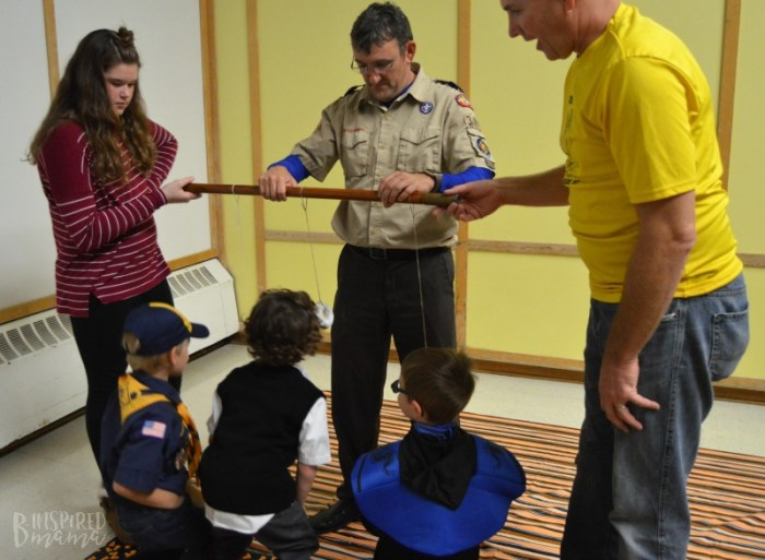 J.C. playing the Donut Game at the Scouting Harvest Party + Info about the New Lion Cub Scout Program for Kindergarten Boys