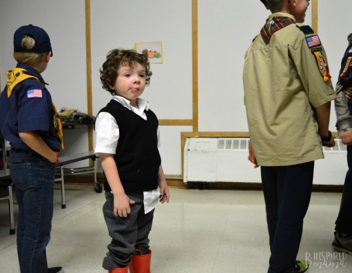 J.C. waiting patiently in line at the Scouting Harvest Party + Info about the New Lion Cub Scout Program
