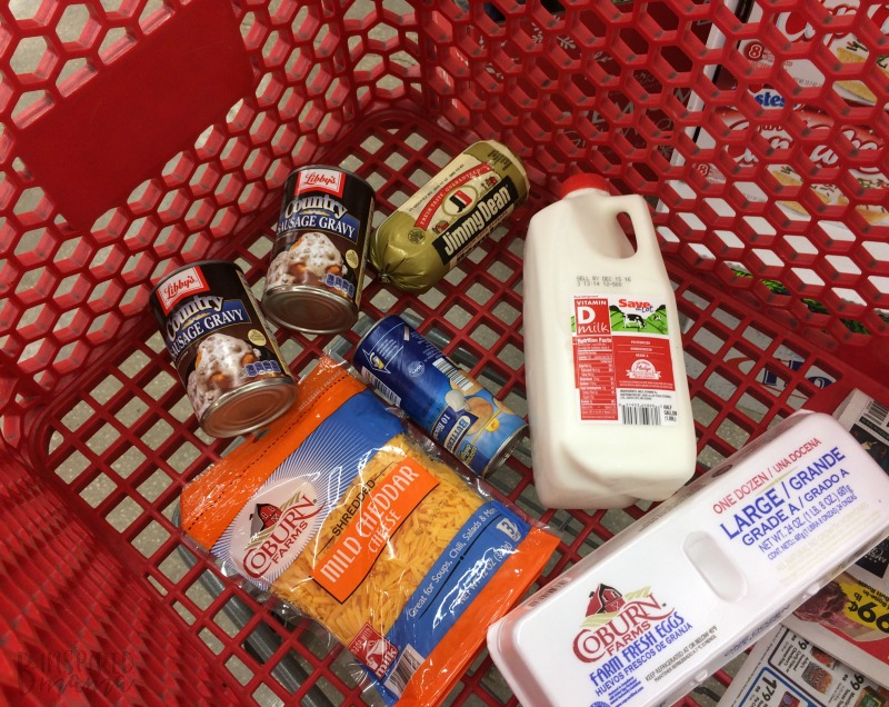 Making An Easy Biscuits and Gravy Crockpot Breakfast Casserole - Shopping for ingredients at Save-A-Lot