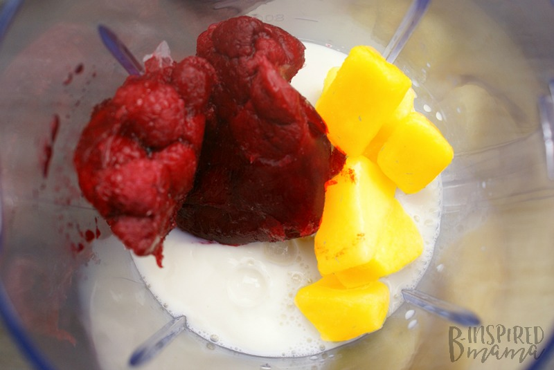 Blending up our Mango Razzy Berry Kids Fruit Smoothie - at B-Inspired Mama