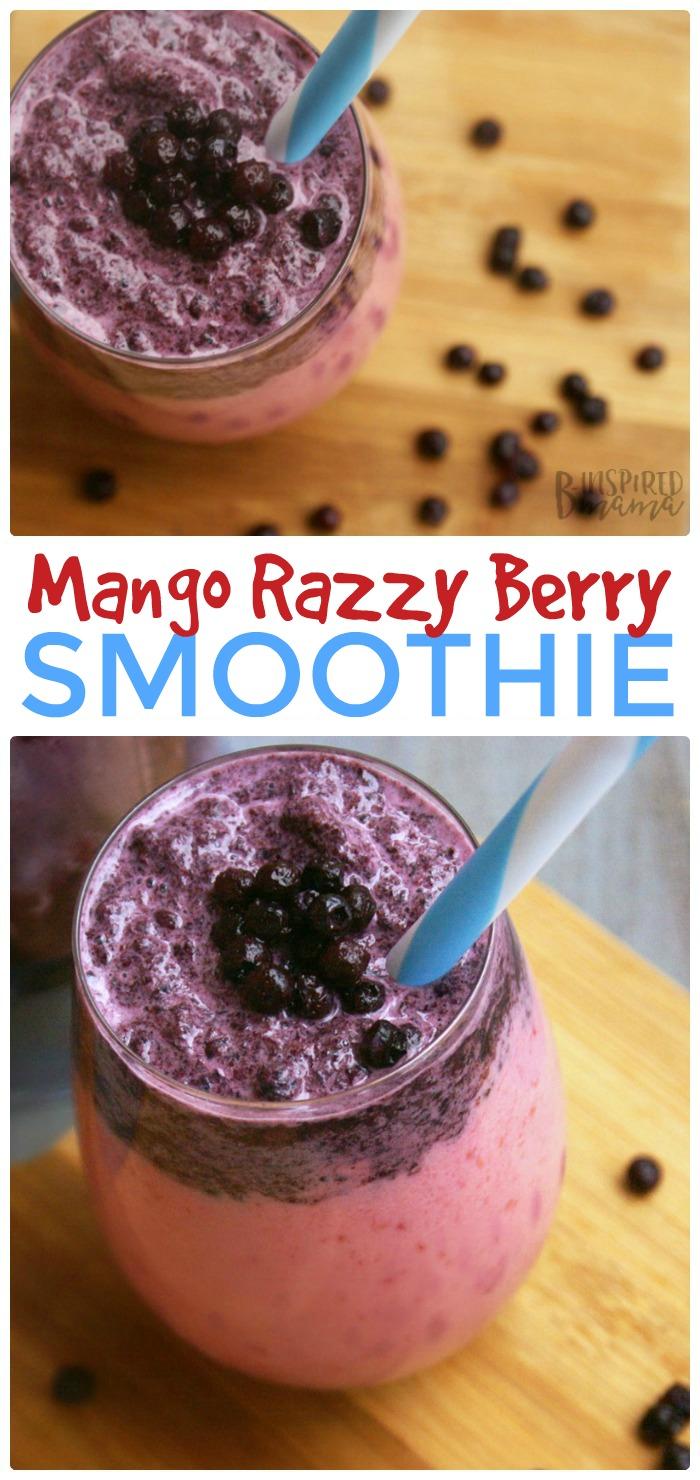 Mango Razzy Berry Fruit Smoothie - at B-Inspired Mama