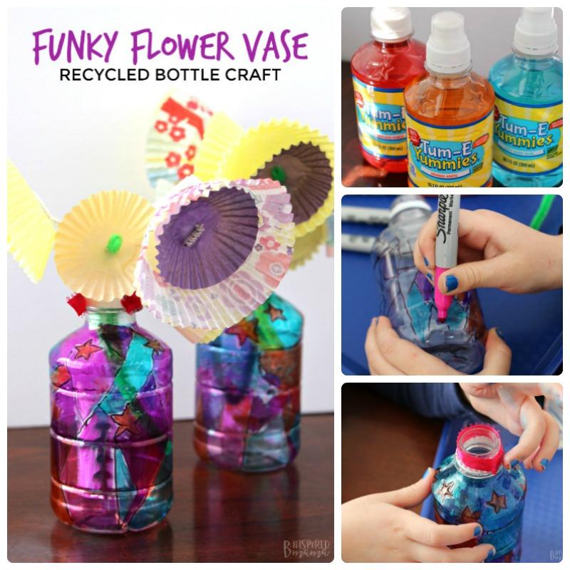 Funky Upcycled Flower Vase Plastic Bottle Craft For Kids