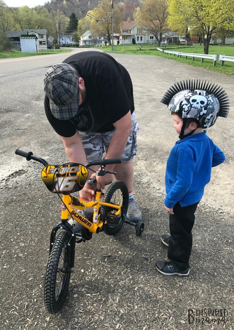 JC and Daddy getting ready for some Kids Bike Bingo