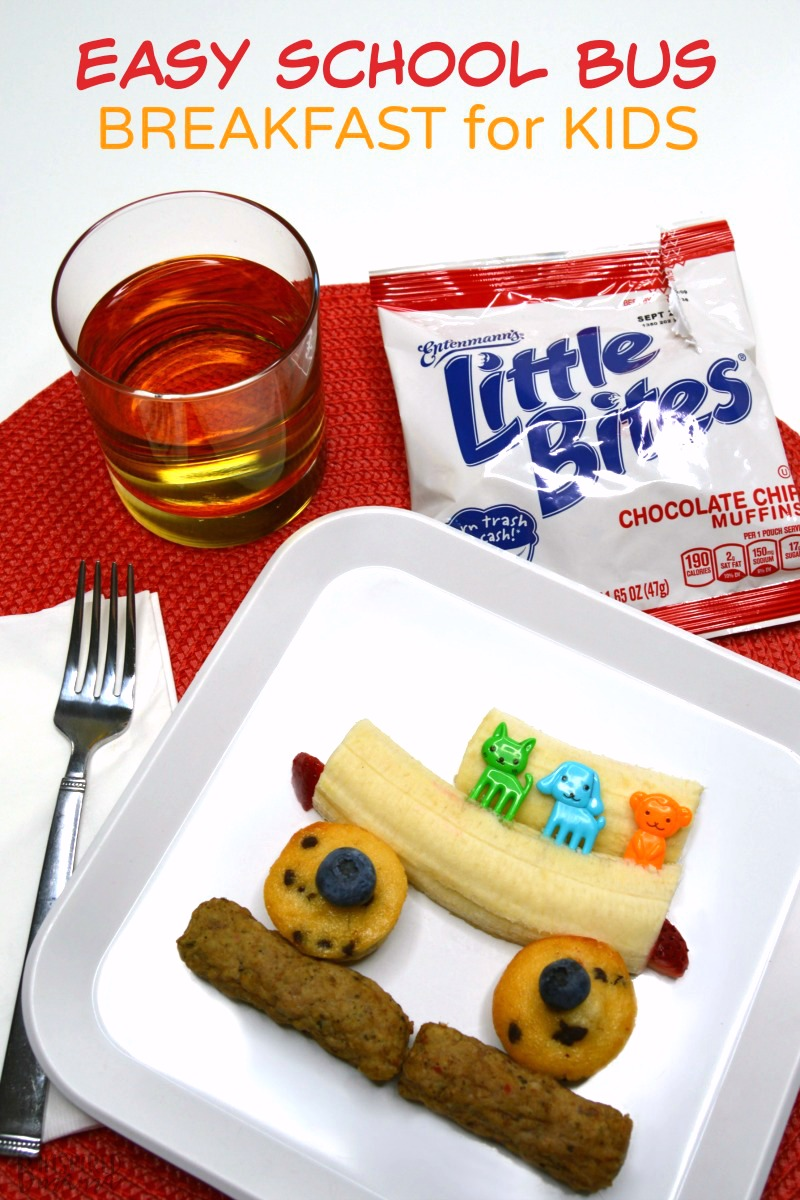 Celebrate the first day or week of school with this super cute - and surprisingly easy - schoolbus-themed before school breakfast for kids! And it's a pretty healthy breakfast of fruit and protein and some yummy chocolate chip muffins, too.
