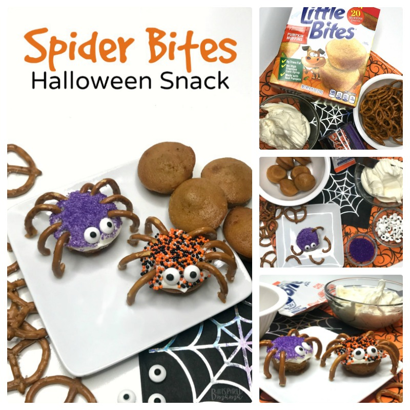Seriously cute Spider Bites for a fun Halloween Snack for Kids - at B-Inspired Mama