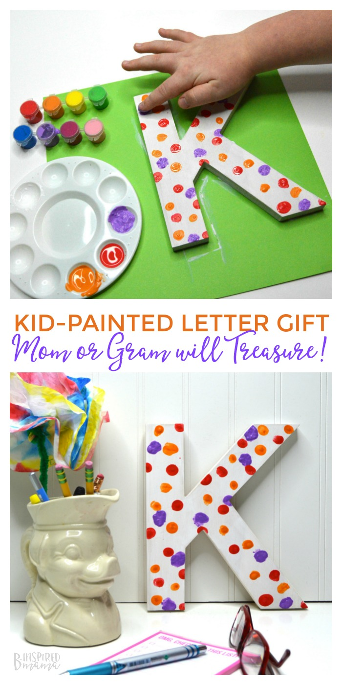 A super cute (and really easy!) kid-made painted letter craft - mom or grandma will treasure forever! Makes the perfect homemade gift for mom or handmade gift from kids. #kidmadegifts #binspiredmama #kids #KidsCraft #kbn #craft #handmadewithlove