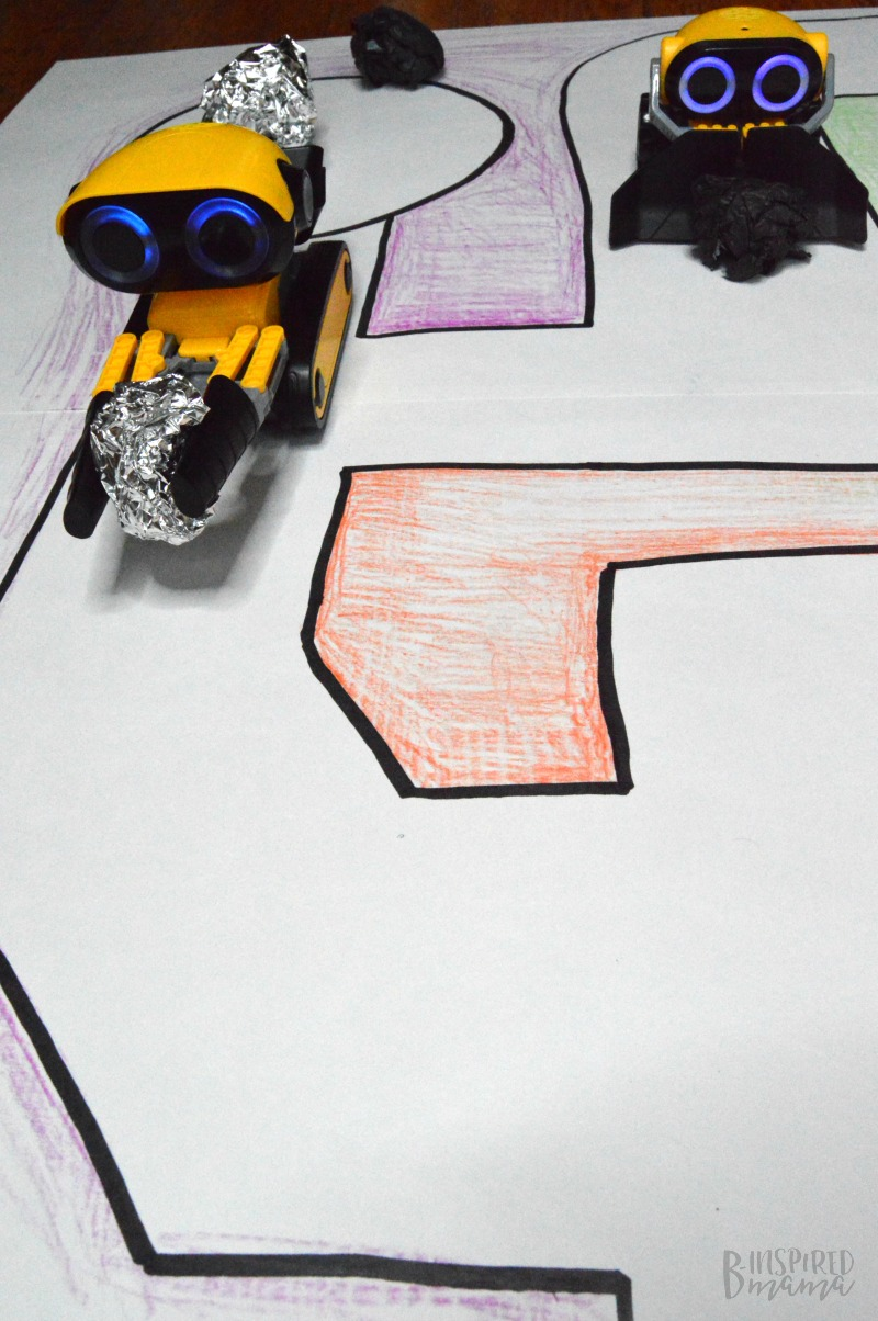 Our BotSquad working hard!+ Make a Simple DIY Playmat for Kids Robot Toys - at B-Inspired Mama