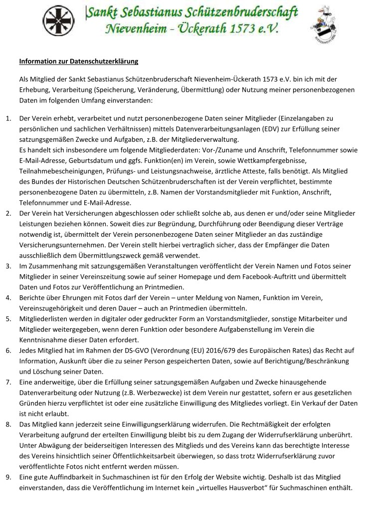 Merkblatt - Informationen zum Datenschutz der Bruderschaft