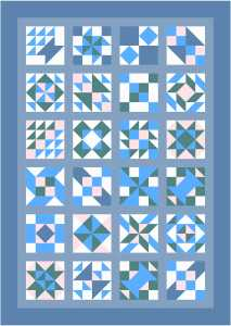 Sampler Quilt with Color Fabric Sashing