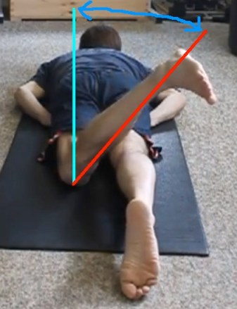 Chris prone left leg external rotation with lines