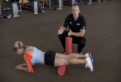 foam roll quads bad shoulders with lines