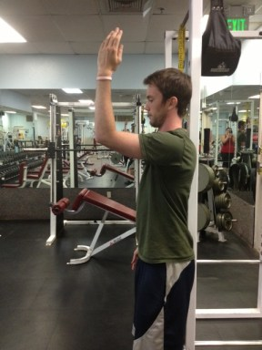 Standing arm raise from flexion
