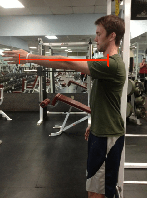 Straight arm arm raise mid point with moment arm line