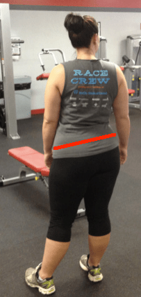 Standing on one leg lateral pelvic tilt with line