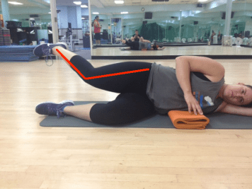 Side Lying Leg Lift Knee Turning in during abduction with lines