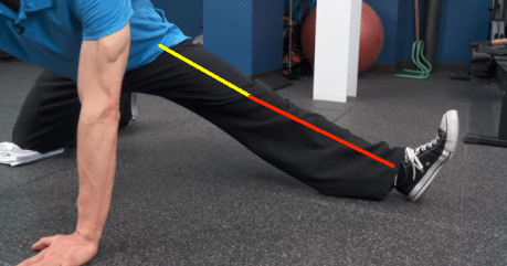 Split Stance Adductor foot up with lines