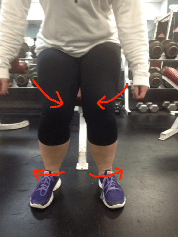 Squat knees caving in with opposing rotations