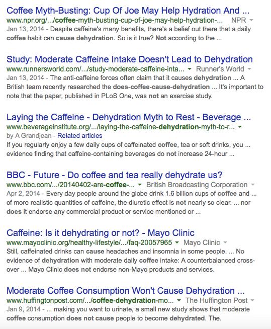 Coffee links no dehydration