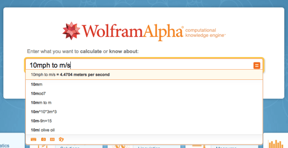 WolframAlpha easy conversion
