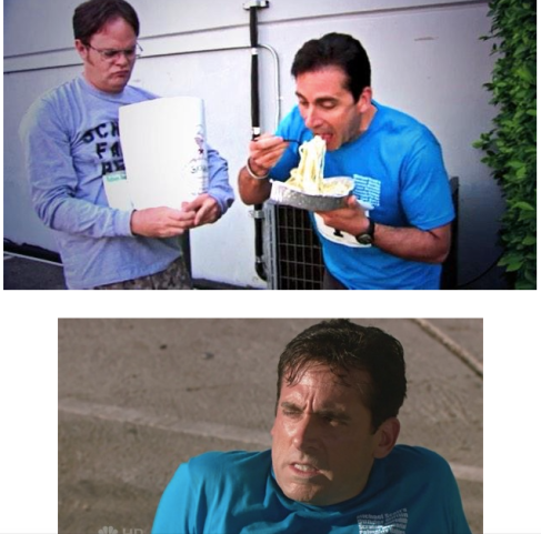 "You might want to skip the Alfredo sauce. (From The Office episode ""Fun Run."")"