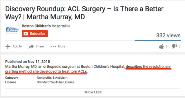 Boston Children's Youtube revolution ACL