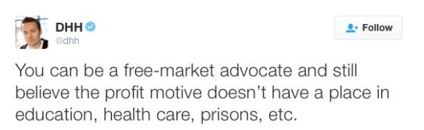 DHH free market advocate tweet