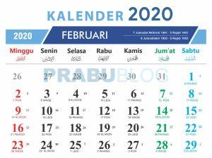 kalender feburari 2020 nasional jawa