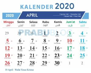 kalender april 2020 libur nasional dan pasaran jawa
