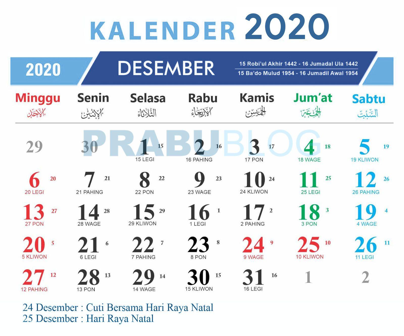 kalender desember 2020 nasional dan jawa